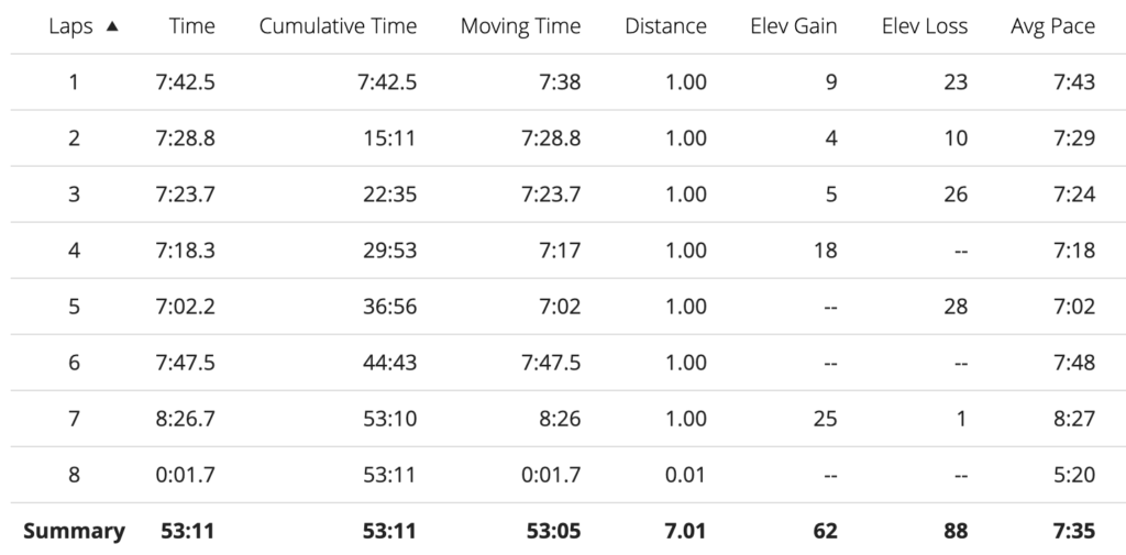 splits from the progression run testing my current level of fitness