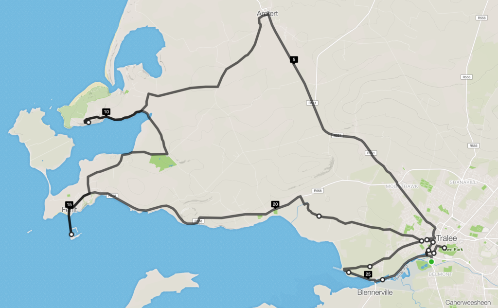 the tralee marathon route promises some great scenery including the offshore excursion at mile 15