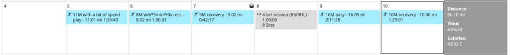 an unexpected 50-mile week with a weight session squeezed in too