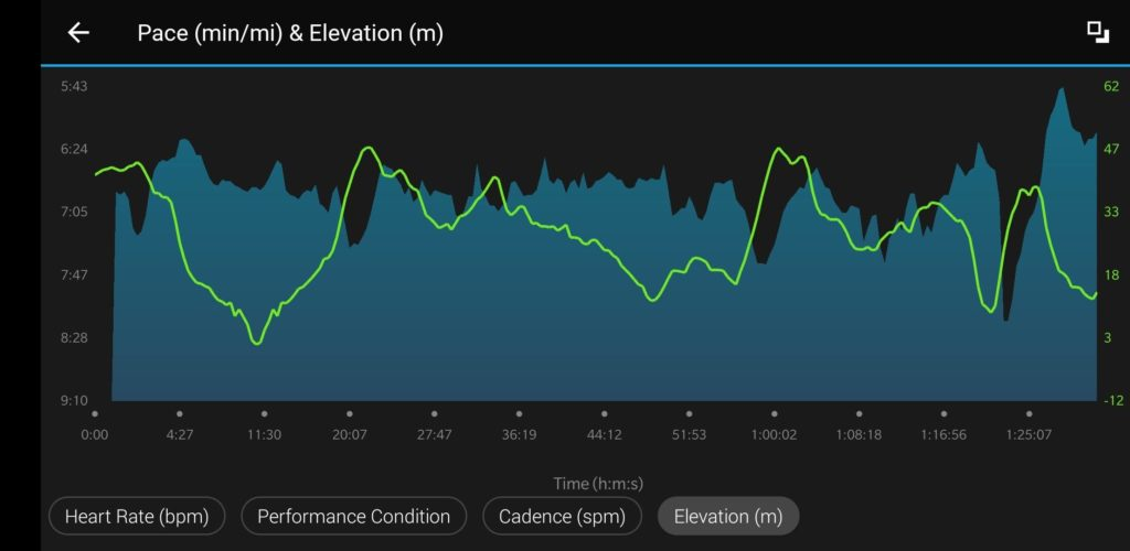 a truer pace vs elevation (green line) chart confirms the hills controlled the speed